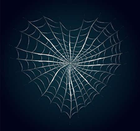 Spinnenweb hart. Illustratie 10-versie Stock Illustratie