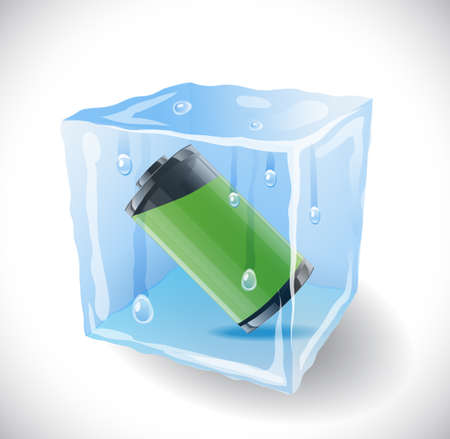 ice cube: Ice cube with full battery. Illustration