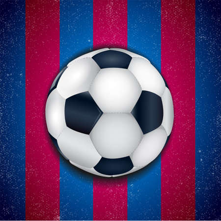 soccer game: Blue - pomegranate background with football ball. Illustration