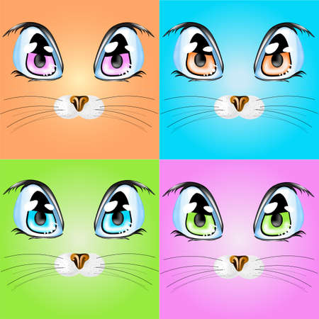 animal eyes: Set with colorful cats.