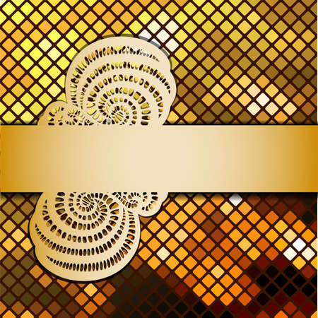 Vector illustration with mosaic and ribbon.