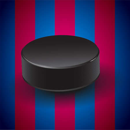 puck: Blue - pomegranate background with hockey puck. Illustration