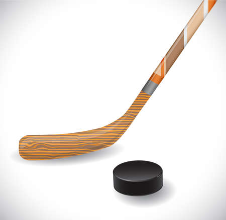 puck: Hockey stick and hockey puck. Illustration