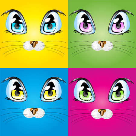 nose close up: Set with colorful cats.