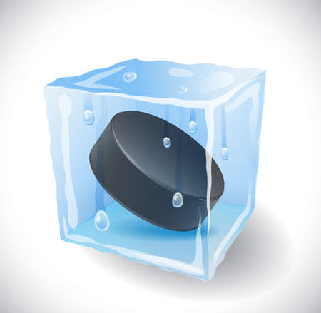 ice surface: Ice cube with hockey puck .  Illustration 10 version