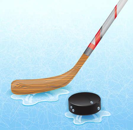 hockey goalie: Hockey stick and hockey puck. Illustration 10 version.