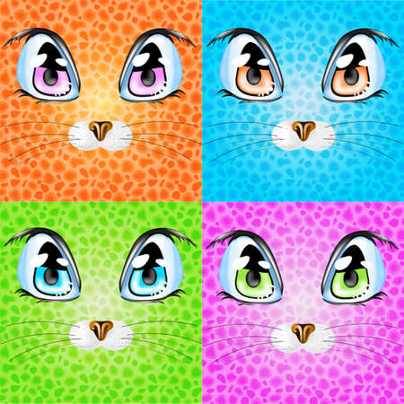 nose close up: Set with colorful cats. Illustration 10 version Illustration