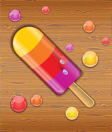 Ice cream on wooden background. Illustration 10 version