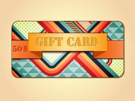 stile: Retro stile abstract gift card. Illustration 10 version