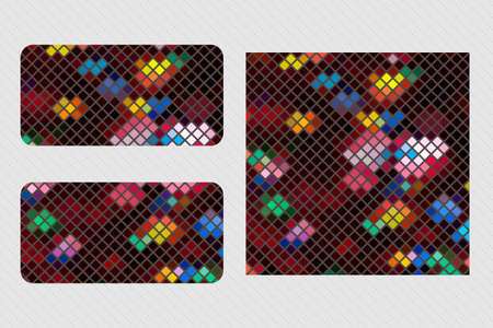 Colorful mosaic pattern design set Ilustração