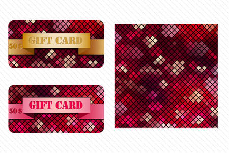 Colorful set of gift cards with mosaic pattern Imagens - 100486458