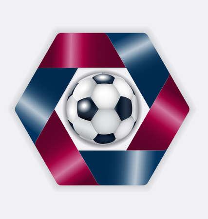 Blue - pomegranate hexahedron with football ball. Illustration 10 version. Ilustração