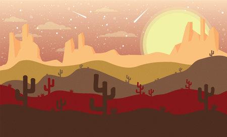 Desert background with cactus. Illustration 10 version