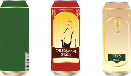 Beer tins set Illustration