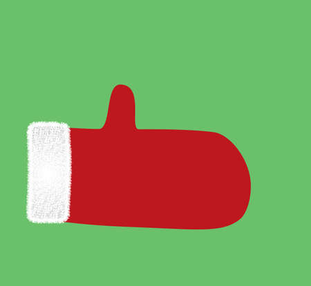 Red fluffy mitten