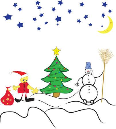 fur tree: Pupazzo di neve con pelliccia albero Vettoriali