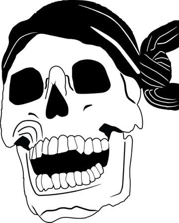 Black-and-white piracy skull with a bandage