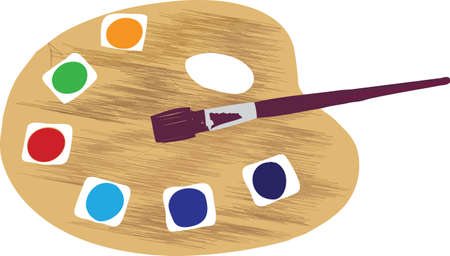 Artist pallet with paintbrush