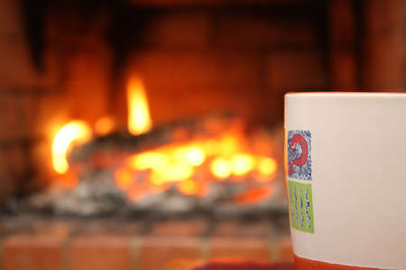 Cup with fireplace Stock Photo