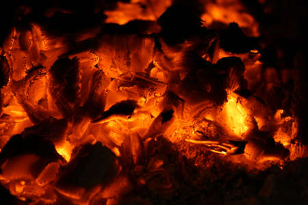 decaying: Decaying coals in an oven Stock Photo
