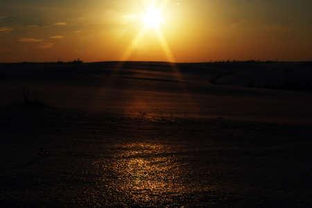 Light of evening sunset light, with reflexion on snow
