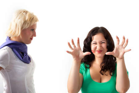 Two women, one frightens you Stock Photo - 7827320