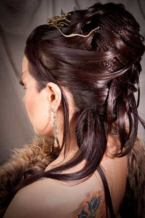 bridal hair: The girl with a hairdress turned away