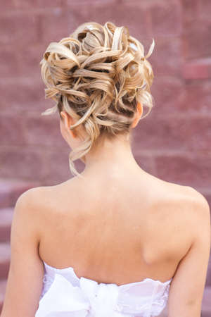 Back view of elegant wedding hairstyle in street photo