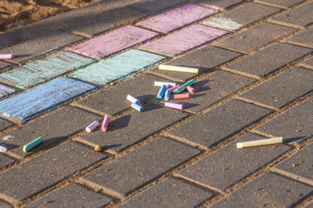 Crayons for drawing on the pavement and flagstones Stock Photo