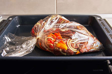 Roast in the oven in a plastic bag