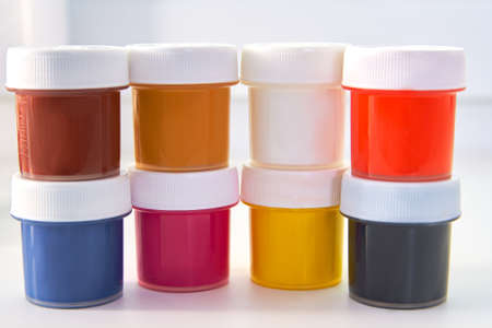 four color printing: The colored paint bucket CMYK Stock Photo