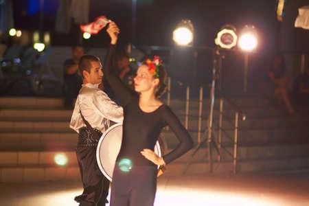 Sunny Beach, Bulgaria - August 17, 2015: Bulgarian folk dances - a small representation in the lobby for guests Editorial