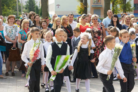 Minsk, Belarus - August 31, 2015:Children go first day of school after the summer holidays