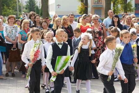 Minsk, Belarus - August 31, 2015:Children go first day of school after the summer holidays