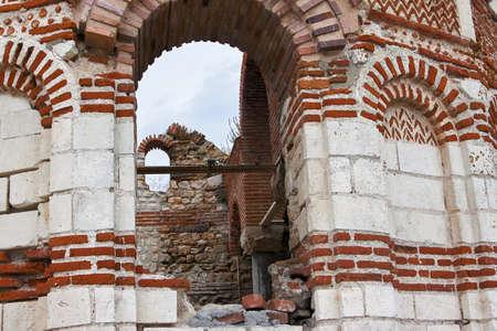 Ruined Church of Christ Pantokrator, in old historical Nesebar town, Bulgaria. Black sea coast