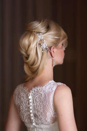 Portrait of the  bride on a dark background