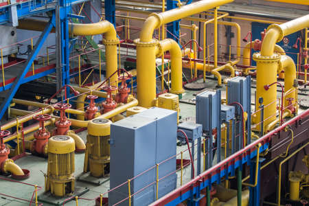 Industrial design factory floor with pipes Stock Photo