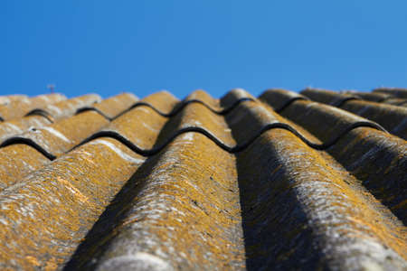 Old view on roof to sky. Stock Photo
