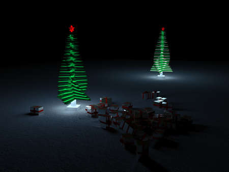 A glowing Christmas tree on a dark background with gold gift boxes scattered around it.