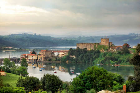 cantabria: Coastal village in Cantabria, San Vicente de la Barquera Stock Photo