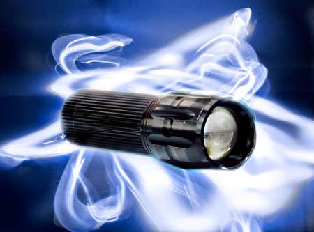 Flashlight on a slow speed light painting background Banco de Imagens