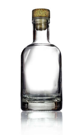 Empty glass bottle isolated on white background Banco de Imagens