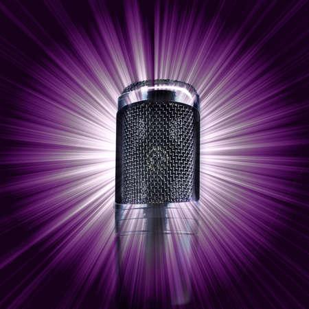 Microphone on abstract purple sunburst background