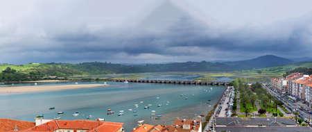 San Vicente de la Barquera panorama shot  Coastal village in Cantabria