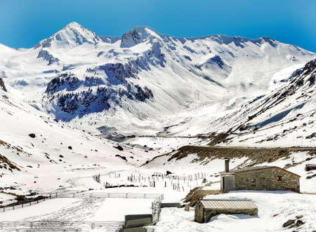 snowy mountains located in the Pyrenees - Spain