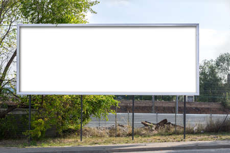 blank  empty: Horizontal roadside billboard (blank for a designer to place on a text. image, message..) Stock Photo