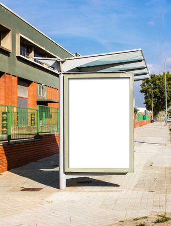 street signs: Blank Billboard on Bus Stop, empty for advertising or graphic design