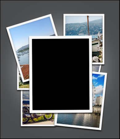 Empty photo frame, edge blank  and travel photos background