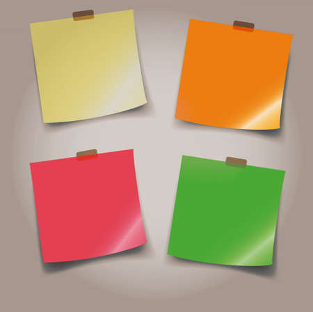 paper note: adhesive note paper with transparent sticker, fancy colored background Stock Photo