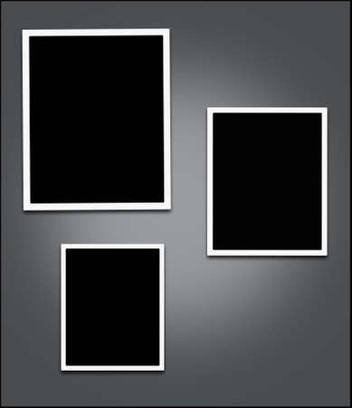 Empty photo frame with blank edge and gray background - clipping path to place an image